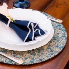 Imagem de Capa p/ Sousplat Azul petróleo florido