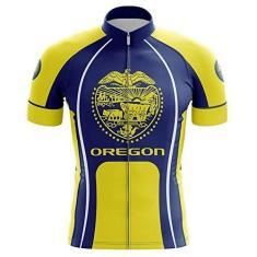 Imagem de HIRBGOD Camisa de ciclismo masculina de manga curta Team Oregon Gold & Blue