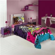 Imagem de Jogo de cama infantil com três peças estampa Monster High 1,50x2,10 - Lepper