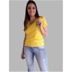 Imagem de Camiseta do Brasil Feminina Gola V - 369