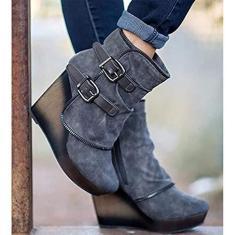 Imagem de PLAYH Bota feminina retrô no tornozelo bota anabela moda zíper fivela inverno salto alto quente para mulheres (cor: , tamanho: 43)
