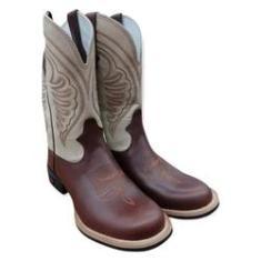 Imagem de Bota Texana Texas Boots Brow Cano Marfim Bico Redondo