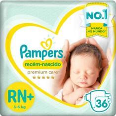 Fralda Pampers Premium care Tamanho Recém Nascido (RN) 36 Unidades Peso Indicado Até 6kg