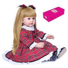 Imagem de Zwbfu Decidir boneca Reborn de 24 polegadas Bonecas de Acompanhamento de Bebê de Vinil de Silicone e Corpo de Algodão Presentes para Crianças com Vestido Xadrez
