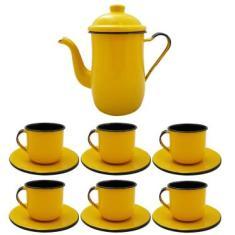 Imagem de Kit Bule De Café E Chá Com 6 Xícaras E Pires Aço Esmaltado Amarelo
