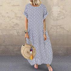 Imagem de Zanzea feminino verão manga curta polka Dots casual solto maxi vestidos plus size vestido longo  5XL