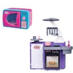 Imagem de Kit Mini Cozinha Infantil Com Fogão Geladeira E Micro-ondas