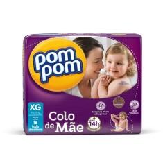 Fralda Pom Pom Colo de Mãe Tamanho XG Jumbo 16 Unidades Peso Indicado 10 - 15kg