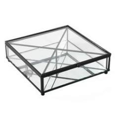 Imagem de Porta Joias Vidro Transparente e Metal  20x6cm KV0240 BTC