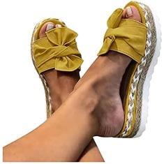 Imagem de Xbtianxia Sandália feminina com salto anabela – Botas de verão com laço de amarrar e chinelos de plataforma sem cadarço Sapatos respiráveis de bico aberto (Cor: , Tamanho: 10,5)