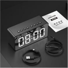 Imagem de Rádio Relógio Bluetooth Despertador Digital Caixa de Som Espelhado