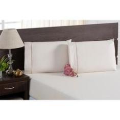 Imagem de Jogo de Cama Casal King Size Com Travesseiros Lençol e Fronha 5 Peças 100% Algodão Percal 200 Fios Palha