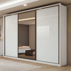 Guarda-Roupa Casal 3 Portas 6 Gavetas com Espelho Spazio Glass Siena Móveis