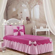 Imagem de Colcha Solteiro Laura Lacinhos Quarto Meninas Tecido Micro Fibra Matelado 5 Peças  Pink E