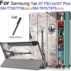 Imagem de Caso para Samsung Galaxy Tab S7 Fe 12.4 ''SM-T730 T736B Tablet Ajustável Folding Stand Capa para Samsung Galaxy Tab S7 Plus