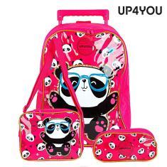 Imagem de Kit Mochila Escolar Infantil Panda Up4You Com Rodinhas