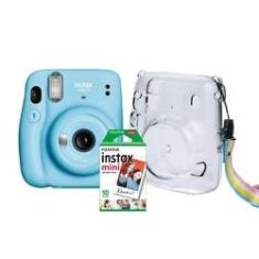 Kit Câmera Instantânea Fujifilm Instax Mini 11 Azul + Case Crystal + Filme 10 poses