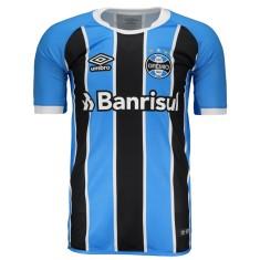 Camisa Grêmio I 2017 18 com Número Torcedor Masculino Umbro b84533fd272fc
