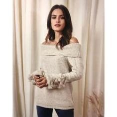 Imagem de Blusa Tricot Bege Ombro a Ombro e Pelos Punhos