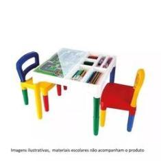 Imagem de Mesa Didatica Mesinha Infantil Com 2 Cadeira Poliplac