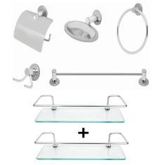 Imagem de Kit acessorios banheiro porta shampoo reto 30cm vidro 7 pcs