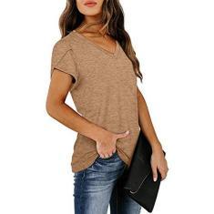 Imagem de Camisetas femininas básicas gola V ajuste solto casual manga curta tops verão casual solto tie dye listrado/color block/camisetas simples