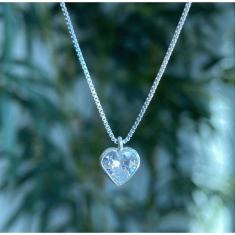 Imagem de Colar Corrente Prata 925 Ponto de Luz coração Prata 925