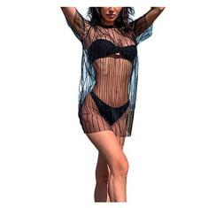 Imagem de Springcmy Blusa feminina de malha transparente, manga curta, vestido de praia, biquínis, , XG