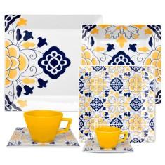 Aparelho de Jantar Quadrado de Porcelana 42 peças - Quartier Sevilha Oxford Porcelanas