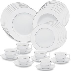 Aparelho de Jantar Redondo de Porcelana 30 peças - Flamingo Diamond Oxford Porcelanas