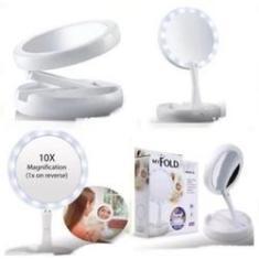Imagem de Espelho De Aumento 10x Com Luz De Iluminação Led De Mesa Dobravel E Articulavel Para Maquiagem Camar