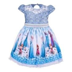 Imagem de Vestido Infantil Tema Princesa Frozen Luxo Aniversário