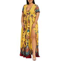 Imagem de Vestido feminino de verão plus size com estampa de borboleta, decote em V, manga curta, fenda casual, vestido longo para festa, , XXG