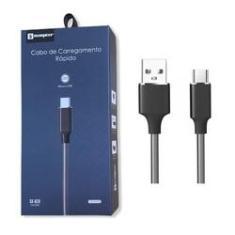 Cabo USB Metalizado Original Sumexr 1M 2.4A Carregamento Rápido V8 Para Samsung J5 Prime, J7 Prime, 2