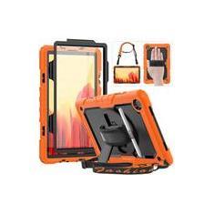 Imagem de HXCASEAC Samsung Galaxy Tab A7 2020 Case Kids, SM-T500/T505 Case, Estojo à prova de choque durável com suporte de caneta S, Protetor de Tela, 360 Correia Giratória/Alça de Mão, Alça de Ombro para Samsung Tab 10.4, Laranja