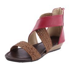 Imagem de Sapatos femininos de salto em cunha Sandálias com zíper Sandálias de praia casuais Sapatos romanos