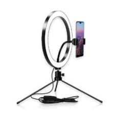 Imagem de Ring Light Iluminador Mesa com Tripé e Suporte Celular 20cm