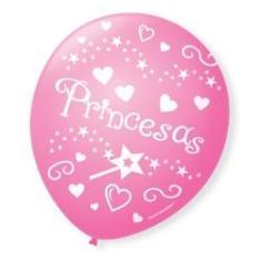 Imagem de Bexiga Balões Tema Nº 9 Princesas Rosa - 25 Unid