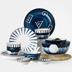 Imagem de Conjunto de louça de porcelana com 48 peças, conjunto de pratos incluindo tigela pratos de sobremesa, pratos de sopa, pratos de jantar, pratos de jantar para 8, para cozinha diária e jantar, tigela de 11,4 cm/2