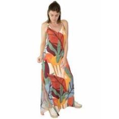 Imagem de Vestido Longo Viscose Estampado Craft Fendas Laterais /Verde