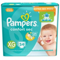 Fralda Pampers Confort Sec Tamanho XG 34 Unidades Peso Indicado 12 - 15kg
