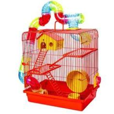 Imagem de Gaiola Hamster 3 Andares Labirinto Tubos Coloridos Completa