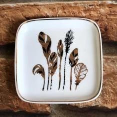 Imagem de Porta Jóias de Porcelana Folhas