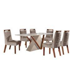 Imagem de Conjunto Sala De Jantar Mesa Tampo De Vidro Pequim 6 Cadeiras Atena Lj Móveis Off White/Castanho Premio/Pena Bege/Laca