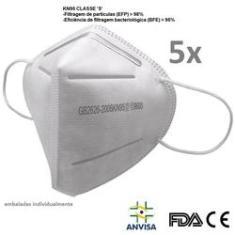 Imagem de 5 un Máscara N95 Pff2 C/ Anvisa 5 Camadas FDA CE