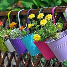 Imagem de Vasos de flores de metal para pendurar, vaso de parede para trilhos, cercas, varandas, jardim, decoração de casa, suportes de flores com ganchos destacáveis, 10 cm, multicolorido disponível