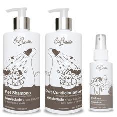 Imagem de Combo Kit banho para cachorro Tratamento Ansiedade Pelos escuros: Shampoo Condicionador e Perfume Bioflorais