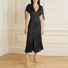 Imagem de Vestido longo feminino manchado de seda casual vestido longo com cordão manga curta dividida bainha solta vestido de festa femme  2XL