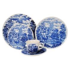 Aparelho de Jantar Redondo de Porcelana 20 peças - Cena Inglesa Oxford Porcelanas