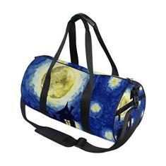 Imagem de Bolsa esportiva esportiva vintage estrelas galáxia céu estrelado viagem academia bolsa de ombro bolsa de mão para homens e mulheres, crianças, meninos e meninas